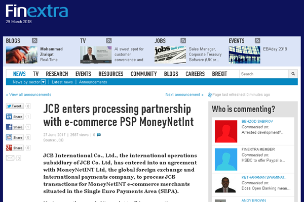 The online payment giant, MonyNetInt, is in a new collaboration.