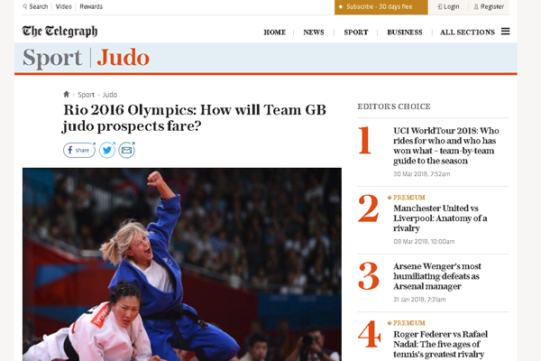 British Judoka, Alice Schlesinger, is exposed as part of the British judo team's coverage.