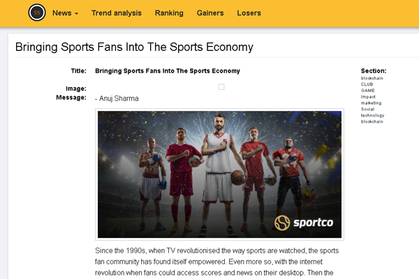 The sports venture in the media sector, Sportco in the story about the recruitment and the idea.