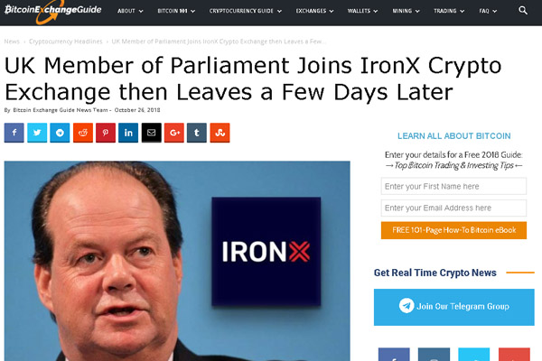 Stephen Hammond, an MP in the UK Parliament and a member of Conservative Party, joined IronX cryptocurrency exchange last week as an advisor, but later quit, serving for only four days.