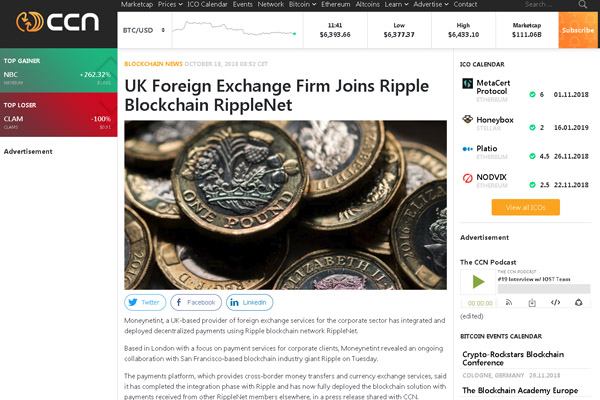 Moneynetint, a UK-based provider of foreign exchange services for the corporate sector has integrated and deployed decentralized payments using Ripple blockchain network RippleNet.