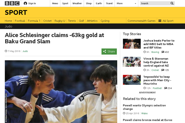 Alice Schlesinger, the British Judoka is covered by the media while competing in a world tournament.