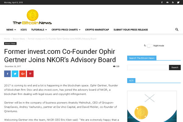 The copyright tech venture Nkor, reports about a new member of its advisory board.