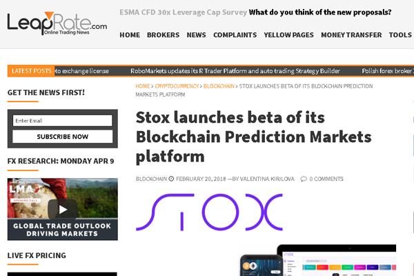 The seventh largest ICO for 2017, Stox, releases a beta version of its product.