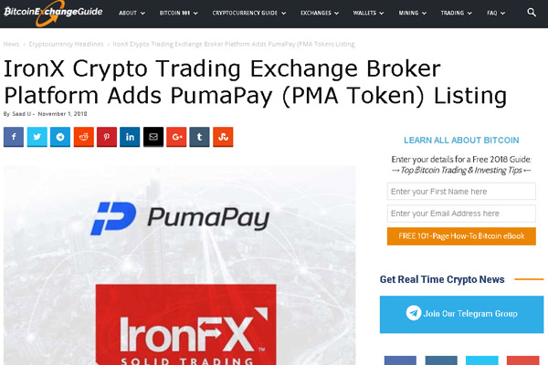 Innovative pull payment cryptocurrency platform PumaPay's PMA token is listed on IronX, a Cyprus based trading platform.