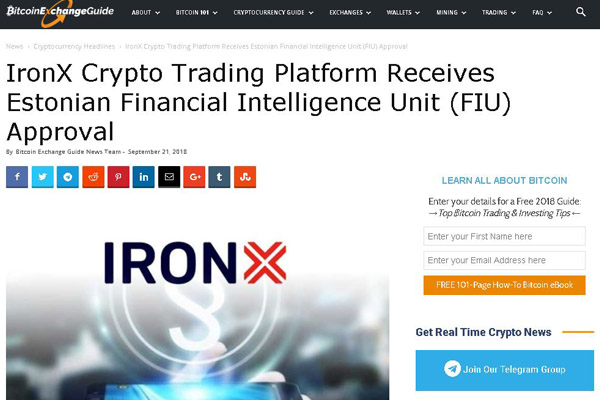 Ironx Virtual Asset Exchange Received Supervisory Authorization In Crypto-Friendly Estonia.