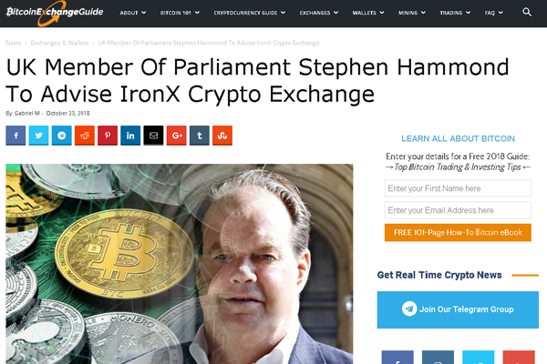 Stephen Hammond, a member of the U. K. Parliament, has joined a new crypto exchange focused on retail investors as a way to provide guidance for this company on government relations.