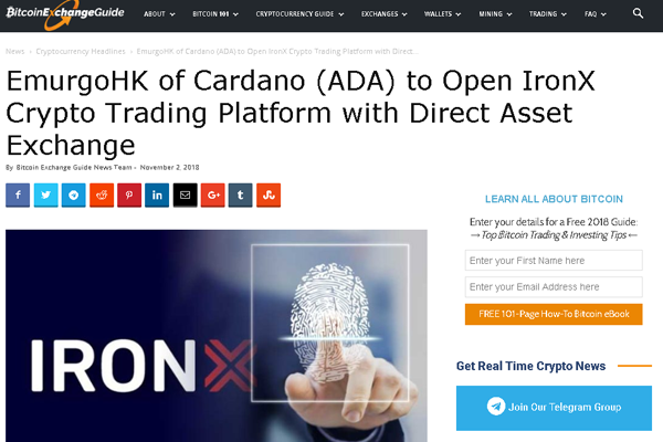 Upcoming Launch of IronX By Cardano's EmurgoHK to Expedite Continuous Trade of Crypto With a Variety of Assets.
